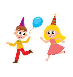 flat boy girl dancing running with balloon vector image