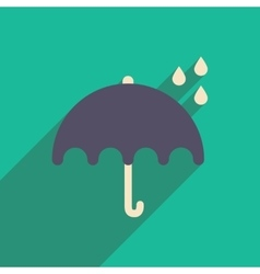 Flat icon with long shadow umbrella rain vector