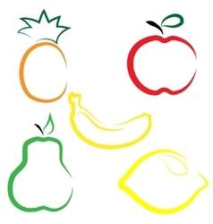 Flat set of fruits vector image