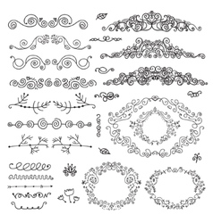 Floral decor set hand drawn vintage vector