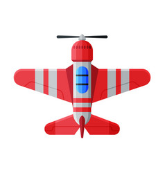 flying red aircraft airplane view from above air vector image