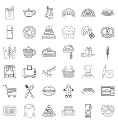 Gastronomy icons set outline style vector