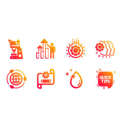 Gear water drop and employees teamwork icons set vector
