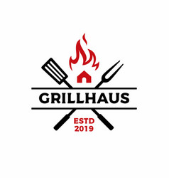 grill house fork spatula fire flame logo icon vector image