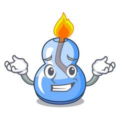 Grinning alcohol burner character cartoon vector