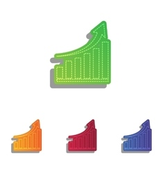 Growing graph sign Colorfull applique icons set vector image