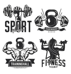 gym emblems labels badges logos vector image