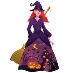Halloween witch on white vector