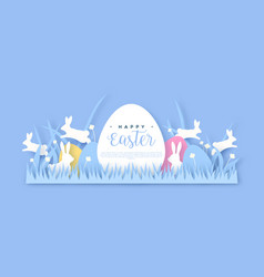 happy easter papercut spring rabbit web template vector image