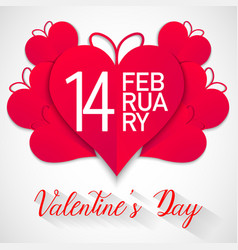 happy valentines day red hearts with white vector image