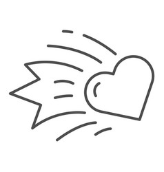Heart comet thin line icon falling star heart vector