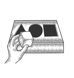 intelligence test sketch engraving vector image