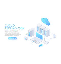 isometric cloud technology with datacenter laptop vector image