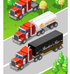 Isometric trucks vector