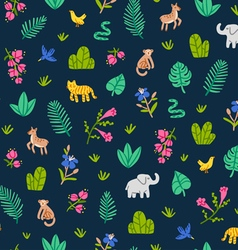 Jungle wildlife pattern vector