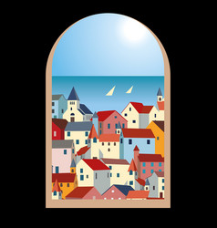 Landscape with sea colorful houses and yachts vector