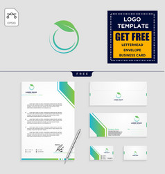 leaf eco fitness logo template and stationery vector image