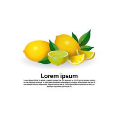 lemon fruit on white background healthy lifestyle vector image