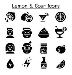 lemon sour icon set vector image