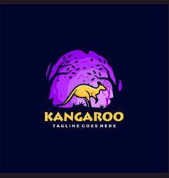 Logo kangaroo mascot cartoon style vector