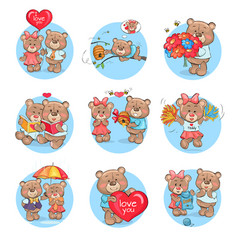 Loving cartoon bears flat icons set vector
