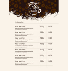 menu price list with cup of coffee and grains vector image