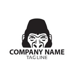 Monochrome gorilla logo vector