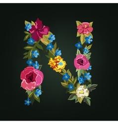 N letter Flower capital alphabet Colorful font vector image