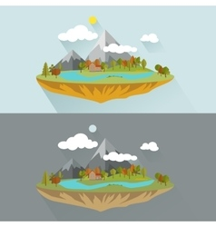 Natural landscapes in a flat style on blue vector image