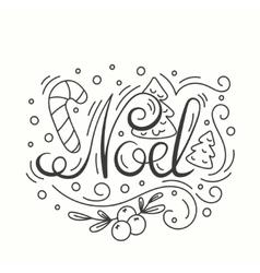 Noel Card Winter Holiday Typography Handdrawn vector