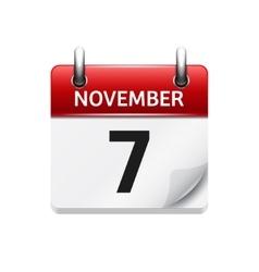 November 7 flat daily calendar icon Date vector