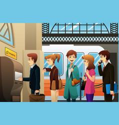People buying train ticket vector