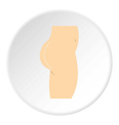 Plastic surgery buttocks correction icon circle vector