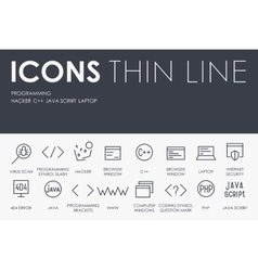 Programming Thin Line Icons vector image