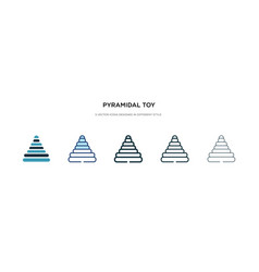 Pyramidal toy icon in different style two vector