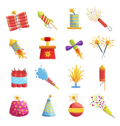 pyrotechnic devices for festival or holiday vector image