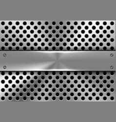 Realistic metal banner on circle mesh design vector
