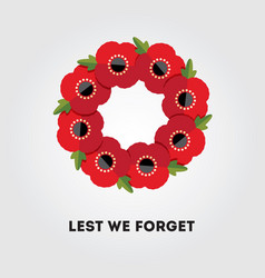 Red poppies wreath on gray remembrance day vector