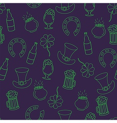 Saint Patricks Day seamless pattern with beer pot vector image