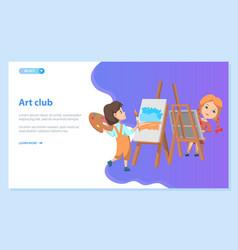 school art kids club girls drawing paintings vector image