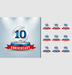 Set of anniversary trophy anniversary celebration vector