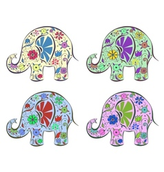Set of elephants painted by flowers vector image