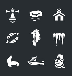 Set of greenland icons vector
