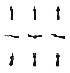 Significance of gestures black icons in set vector