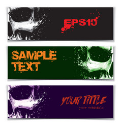 Skull artistic splatter banners black green purple vector