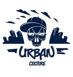 Skull in sunglasses and hat urban theme logo vector