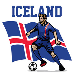 Soccer player of iceland vector
