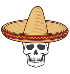sombrero mexican hat and skull vector image