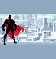 superhero standing tall winter silhouette vector image