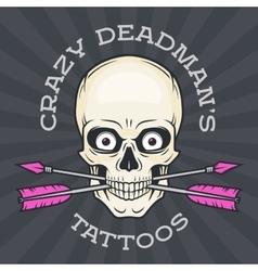 Tattoo parlor logo template hipster skull vector